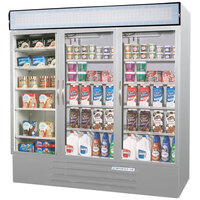 Beverage Air MMRF72-1-SW Market Max Stainless Steel Three Section Glass Door Dual Temperature Merchandiser - 72 Cu. Ft.