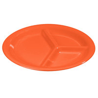 Carlisle 3300052 10 1/2 inch Sunset Orange Sierrus 3 Compartment Narrow Rim Dinner Plate - 12 / Case