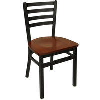 BFM Seating 2160CMHW-SB Lima Metal Ladder Back Side Chair with Mahogany Wooden Seat
