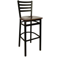 BFM Seating 2160BWAW-SB Lima Metal Ladder Back Barstool with Walnut Wooden Seat