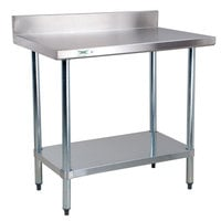 Regency 18 Gauge 30 inch x 36 inch 304 Stainless Steel Commercial Work Table with 4 inch Backsplash and Undershelf