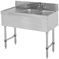 Advance Tabco SLB-32R Lite Two Compartment Stainless Steel Bar Sink with 9 inch Drainboard - 36 inch x 18 inch (Right Side Sink)