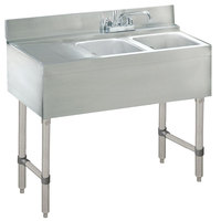 Advance Tabco CRB-32R Lite Two Compartment Stainless Steel Bar Sink with 9 inch Drainboard - 36 inch x 21 inch (Right Side Sink)