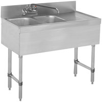 Advance Tabco SLB-32L Lite Two Compartment Stainless Steel Bar Sink with 9 inch Drainboard - 36 inch x 18 inch (Left Side Sink)