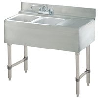 Advance Tabco CRB-42L Lite Two Compartment Stainless Steel Bar Sink with 21 inch Drainboard - 48 inch x 21 inch (Left Side Sink)