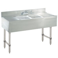 Advance Tabco SLB-42C Lite Two Compartment Stainless Steel Bar Sink with Two 12 inch Drainboards - 48 inch x 18 inch