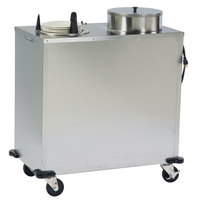 Lakeside E6205 Enclosed Stainless Steel Heated Two Stack Plate Dispenser for 5 1/8 inch to 5 3/4 inch Plates