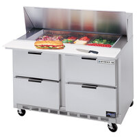 Beverage Air SPED48-10C-4 48 inch Refrigerated Salad / Sandwich Prep Table with 4 Drawers and 17 inch Wide Cutting Board