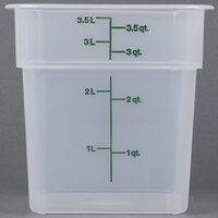 Cambro 4SFSPP190 4 Qt. Translucent Square Food Storage Container with Kelly Green-Colored Gradations