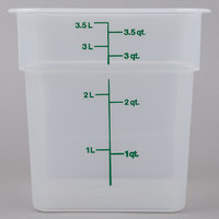 Cambro 4SFSPP190 CamSquare 4 Qt. Translucent Food Storage Container with Kelly Green Graduations