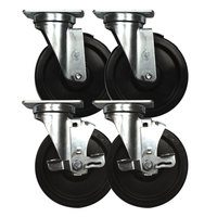 Continental Refrigerator 50209 3 inch Swivel Plate Casters with Brake - 4 / Set