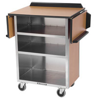 Lakeside 672 Stainless Steel Drop-Leaf Beverage Service Cart with 3 Shelves and Walnut Vinyl Finish - 33 1/8 inch x 21 inch x 38 1/4 inch