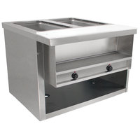 Advance Tabco HDSW-2-BS Stainless Steel Heavy-Duty Two Pan Electric Sealed Table with Enclosed Base - 208/240V