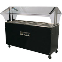 Advance Tabco B4-120-B-SB Enclosed Base Everyday Buffet Stainless Steel Four Pan Electric Hot Food Table - Open Well
