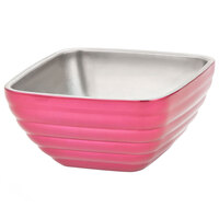 Vollrath 4763275 1.8 qt. Enchanted Pink Stainless Steel Square Beehive Double-Wall Insulated Serving Bowl