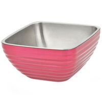 Vollrath 4763775 8.2 qt. Enchanted Pink Stainless Steel Square Beehive Double-Wall Insulated Serving Bowl