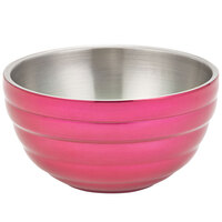 Vollrath 4658775 0.75 qt. Enchanted Pink Stainless Steel Round Beehive Double-Wall Insulated Serving Bowl