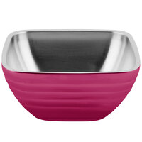 Vollrath 4763575 Double Wall Square Beehive 5.2 Qt. Serving Bowl - Enchanted Pink