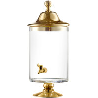 1.13 Gallon Fifth Avenue Crystal Bella Glass Beverage Dispenser with Gold Accents