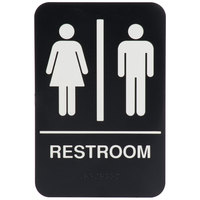 ADA Restroom Sign with Braille - Black and White, 9 inch x 6 inch