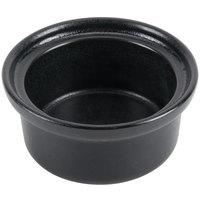 Hall China 630BFCA Foundry 9 oz. Black Ceramic Round Casserole Dish - 24/Case