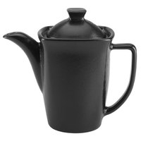 Hall China 4770AFCA Foundry 16 oz. Black Ceramic Beverage Server with Lid - 12 / Case