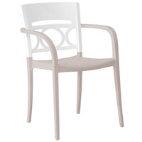 Grosfillex Moon Indoor / Outdoor Stacking Armchair - Glacier White Back / Linen-Colored Seat