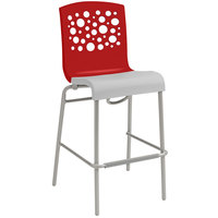 Grosfillex Tempo Indoor Stacking Resin Barstool with Red Back and White Seat