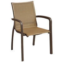 Grosfillex XA643599 / US643599 Monte Carlo Cognac / Fusion Bronze Outdoor Stacking Armchair