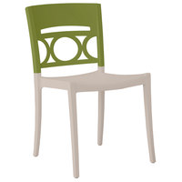 Grosfillex XA649282 / US649282 Moon Cactus Green / Linen Indoor / Outdoor Stacking Chair
