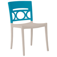 Grosfillex Moon Indoor / Outdoor Stacking Chair - Storm Blue Back / Linen-Colored Seat