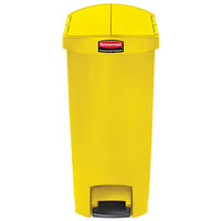 Rubbermaid 1883578 Slim Jim Resin Yellow End Step-On Trash Can with Rigid Plastic Liner - 18 Gallon