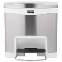 Rubbermaid 1901984 Slim Jim Stainless Steel White Accent Front Step-On Trash Can with Single Rigid Plastic Liner - 4 Gallon