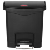 Rubbermaid 1883608 Slim Jim Resin Black Front Step-On Trash Can - 4 Gallon