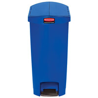 Rubbermaid 1883598 Slim Jim Resin Blue End Step-On Trash Can with Rigid Plastic Liner - 24 Gallon