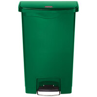 Rubbermaid 1883586 Slim Jim Resin Green Front Step-On Trash Can - 18 Gallon