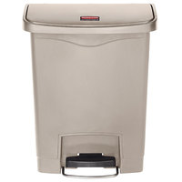 Rubbermaid 1883456 Slim Jim Resin Beige Front Step-On Trash Can - 8 Gallon