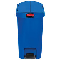 Rubbermaid 1883592 Slim Jim Resin Blue End Step-On Trash Can with Rigid Plastic Liner - 8 Gallon
