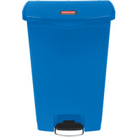 Rubbermaid 1883595 Slim Jim Resin Blue Front Step-On Trash Can - 18 Gallon