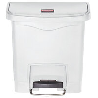 Rubbermaid 1883554 Slim Jim Resin White Front Step-On Trash Can - 4 Gallon