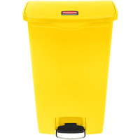 Rubbermaid 1883577 Slim Jim Resin Yellow Front Step-On Trash Can - 18 Gallon