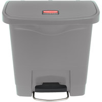 Rubbermaid 1883599 Slim Jim Resin Gray Front Step-On Trash Can - 4 Gallon