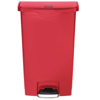 Rubbermaid 1883570 Slim Jim Resin Red Front Step-On Trash Can with Built-In Wheels - 24 Gallon