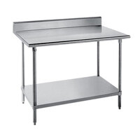 Advance Tabco SKG-245 24 inch x 60 inch 16 Gauge Super Saver Stainless Steel Commercial Work Table with Undershelf and 5 inch Backsplash
