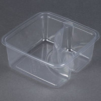 Fabri-Kal Greenware GS6-2 2-Compartment Clear PLA Compostable Container - 50 / Pack