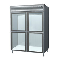 Delfield SMR2S-SLGH 38 Cu. Ft. Two Section Shallow Sliding Glass Half Door Reach In Refrigerator - Specification Line