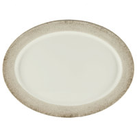 Thunder Group SD2118J Jazz 18 inch x 13 1/2 inch Oval Melamine Platter with Crackle-Finished Border