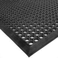 Cactus Mat 2522-C20 VIP TopDek Senior 3' x 19' 6 inch Black Heavy-Duty Rubber Anti-Fatigue Floor Mat - 1/2 inch Thick
