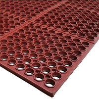 Cactus Mat 3525-R4 VIP TuffDek 3' x 2' Red Heavy-Duty Grease-Resistant Rubber Anti-Fatigue Floor Mat - 7/8 inch Thick
