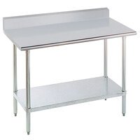 "Advance Tabco KSLAG-306-X 30"" x 72"" 16 Gauge Stainless Steel Work Table with Undershelf and Backsplash"